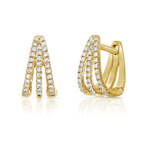 14K Yellow Gold Diamond Triple Huggie Earrings