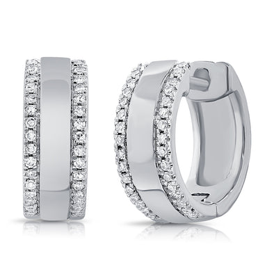 14K White Gold Diamond Medium Huggie Earrings