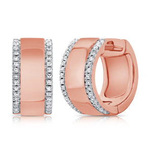 14K Rose Gold Diamond Outline Large Huggie Earrings
