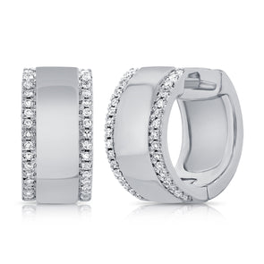 14K White Gold Diamond Outline Large Huggie Earrings