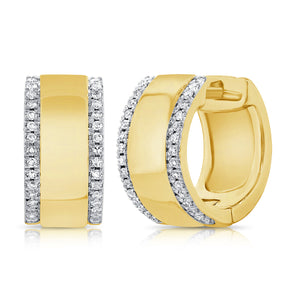 14K Yellow Gold Diamond Outline Large Huggie Earrings