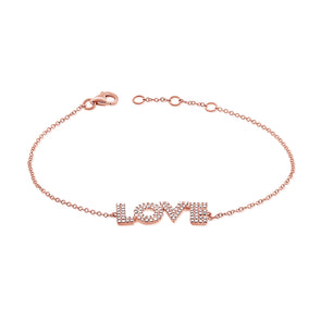 14K Rose Gold Diamond Love Bracelet