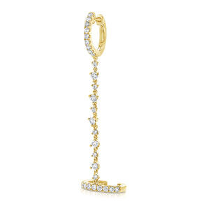 14K Yellow Diamond Double Hoop Chain Earring(1)