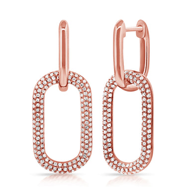 14K Rose Pave Diamond Large Paper Link Earrings