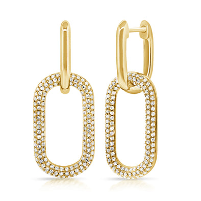 14K Yellow Gold Pave Diamond Large Paper Link Earrings