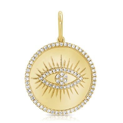 14K Yellow Gold Diamond Evil Eye High Polish Charm