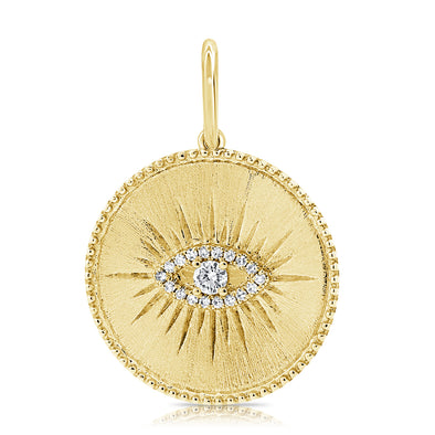 14K Yellow Gold Diamond Evil Eye Matte Finish Pendant
