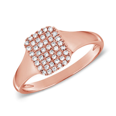 14K Rose Gold Diamond Signet Ring