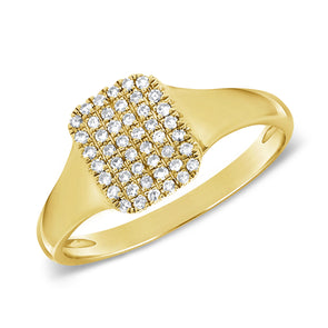 14K Yellow Gold Diamond Signet Ring