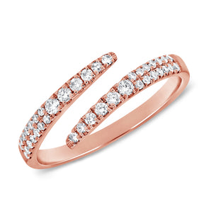 14K Rose Gold Diamond Bypass Ring