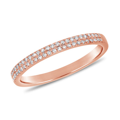 14K Rose Gold Diamond Border Double Row Band