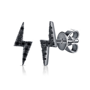 14K Black Rhodium and Black Diamond Lightning Bolt Stud Earrings