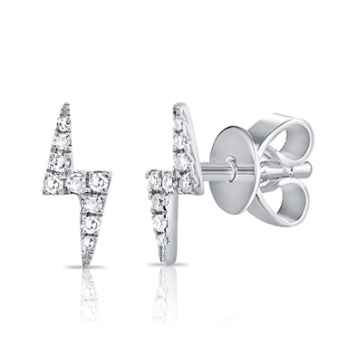 14K White Gold Diamond Lightning Bolt Stud Earrings