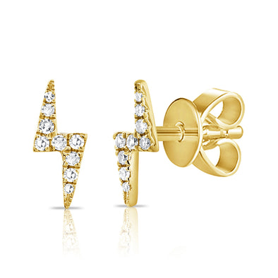 14k Yellow Gold Diamond Lightning Bolt Stud Earrings Maurice S Jewelers