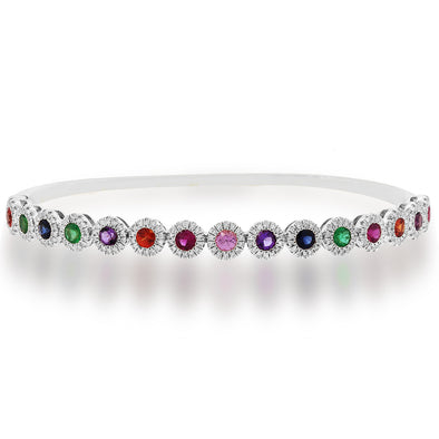 14K White Gold Diamond Halo + Color Stone Hinged Bangle