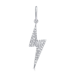 14K White Gold Diamond Lightning Bolt Pendant