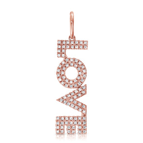 "14K Rose Gold Diamond ""Love"" Drop Charm Pendant"