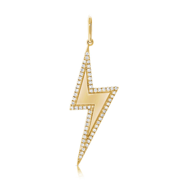 14K Rose Gold Diamond Lightning Bolt Pendant