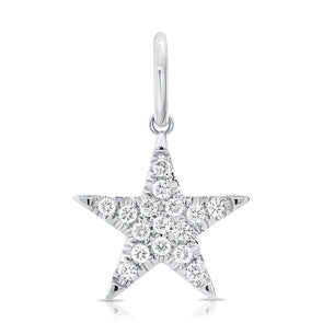 14K White Gold Diamond Star Pendant