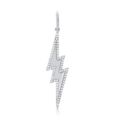 14K White Gold Diamond Lightning Bolt Charm