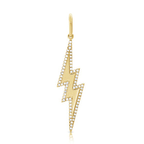 14K Yellow Gold Diamond Lightning Bolt Charm