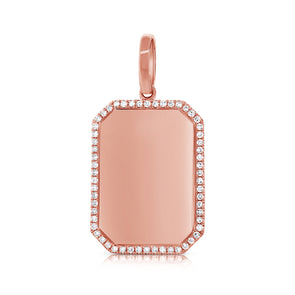 14K Rose Gold Diamond Border Polished Charm Pendant-Engraveable