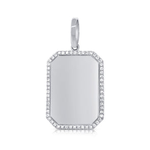 14K White Gold Diamond Border Polished Charm Pendant-Engraveable
