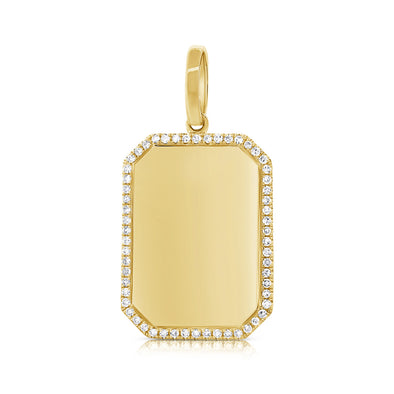 14K Yellow Gold Diamond Border Polished Charm Pendant-Engraveable