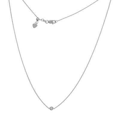 14K White Diamond Bezel Set Adjustable Choker Necklace