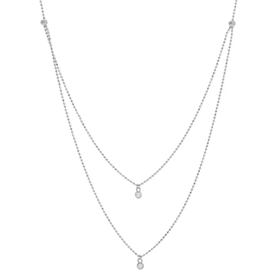 14K White Gold Diamond Bezel Double Strand Necklace