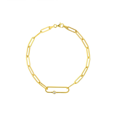 14K Yellow Gold Diamond Paper Clip Link Bracelet
