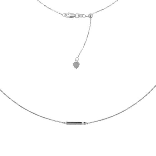 14K white Diamond mini Bar Adjustable Choker Necklace