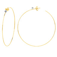 Yellow 14K Diamond Bezel 50mm Open Hoop Earring