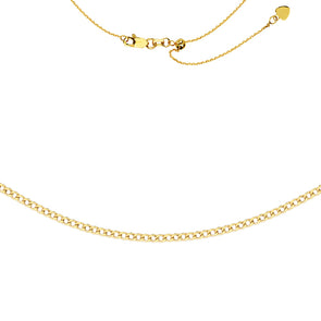14K Yellow Gold Curb Adjustable Choker Necklace