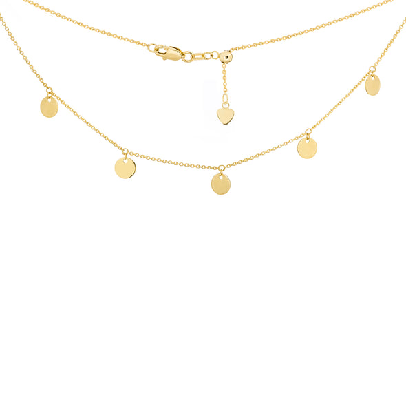 14K Yellow Gold Disc Choker Necklace