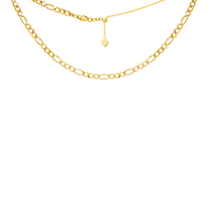 14K Yellow Gold Adjustable Figaro Choker Necklace
