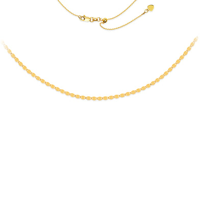 14K Yellow Valentine Link Adjustable Choker