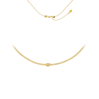 14K Yellow Gold Curb Link Choker with Gold Diamond Nugget