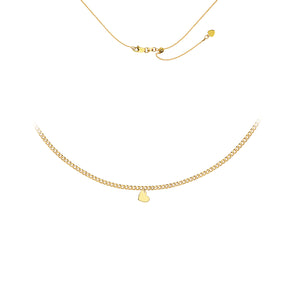 14K Yellow Gold Heart Adjustable Curb Link Choker