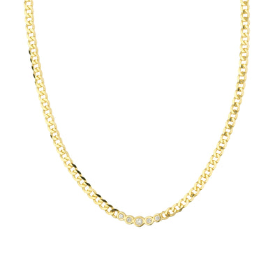 14K Yellow Gold Curved Diamond Bar Curb Link Necklace