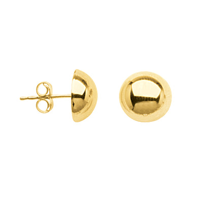 10K Yellow Gold 10mm Half Ball Stud Earrings