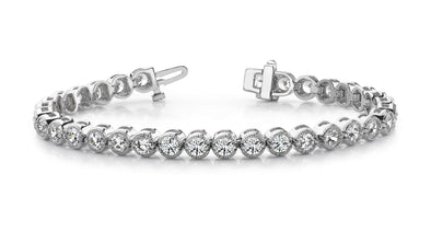 14K White Gold Diamond Milgrain Bezel Tennis Bracelet