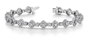 14K White Gold Diamond Square Link Bracelet