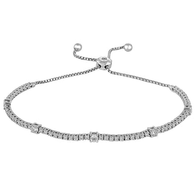 14K White Gold Diamond Station Bolo Bracelet