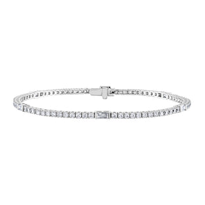 14K White Gold Diamond & Baguette Station Tennis Bracelet