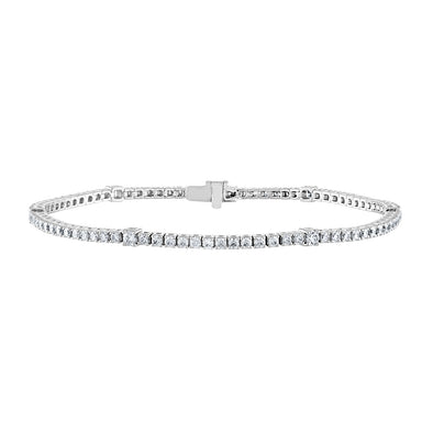 14K White Gold Diamond Station Tennis Bracelet