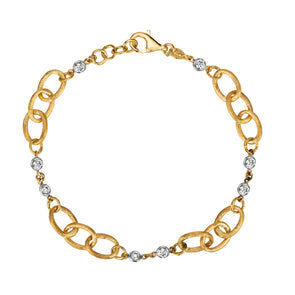 14K Yellow & White Gold Diamond Link Bracelet