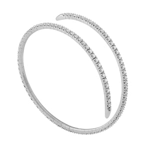 14K White Gold Diamond Wrap Around Flexible Bangle