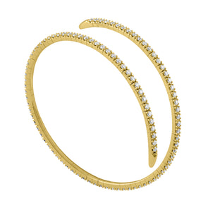 14K Yellow Gold Diamond Wrap Around Flexible Bangle