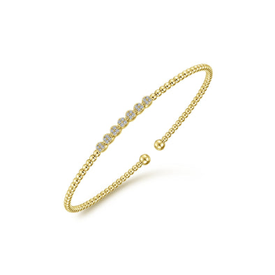 14K Yellow Gold Diamond Top Beaded Open Bangle
